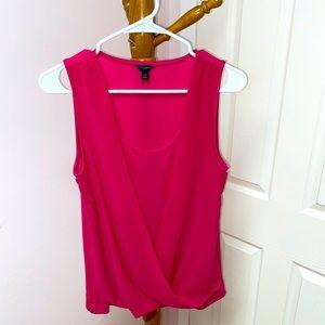 ann taylor pink twist front blouse